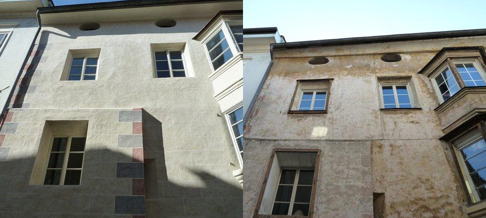 Fassade Stadthaus Brixen vorher-nachher