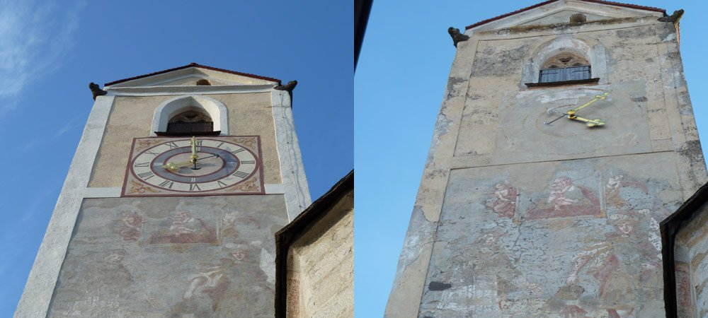Kirchturm vorher-nachher